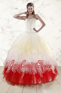 2015 Unique Multi Color Sweetheart Ruffled Quinceanera Dresses wth Beading