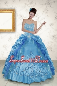 Elegant Sweetheart Embroidery Sweet 16 Dress in Teal