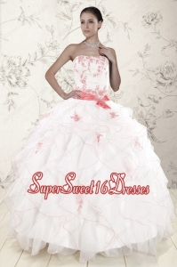 Most Popular White Quinceanera Dresses with Appliques and Ruffles