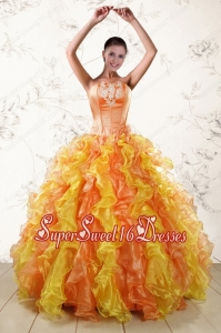 Puffy Luxurious 2015 Quinceanera Dresses with Appliques and Ruffles