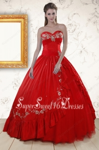 2015 Cheap Sweetheart Red Puffy Quinceanera Dresses with Embroidery