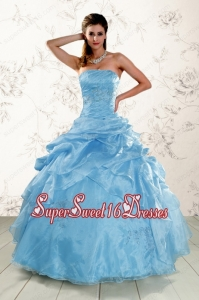 2015 Hot Sale Appliques Quinceanera Dresses in Aqua Blue