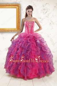 2015 Multi Color Pretty Quinceanera Dresses with Appliques and Ruffles