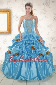 Popular Aqua Blue Quinceanera Dresses with Beading and Flowers