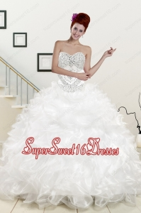 Simple Sweetheart Beading and Ruffles Quinceanera Dress for 2015