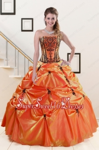 2015 Cheap Orange Red and Black Quinceanera Dresses with Appliques