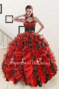 Pretty Beaded Sweetheart Organza Quinceanera Dress in Multi-color