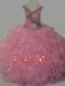 Beautiful V-neck Ruffled Little Girl Pageant Dress with Spaghetti Straps and Sequins