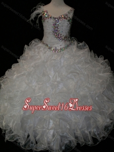 Elegant Ball Gown V Neck Organza Beading Lace Up Little Girl Pageant Dress in White