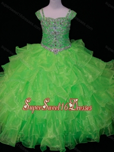 Perfect Sweetheart Ruffled Layer Little Girl Pageant Dress with Spaghetti Straps in Spring Green