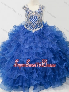 Puffy Skirt V-neck Beaded and Ruffled Layers Little Girl Pageant Dress with Straps
