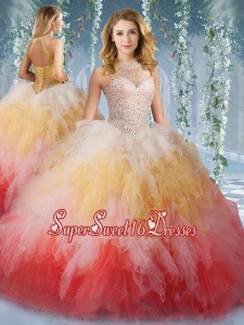 2016 Pretty Halter Top Rainbow Quinceanera Dress with Beading and Ruffles