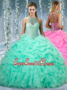 Beautiful Halter Top Beaded and Ruffled Cheap Sweet Sixteen Dress in Mint