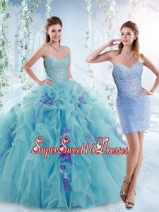 Cheap Beaded Bodice and Ruffled 15th Birthday Party Dresses in Aquamarine