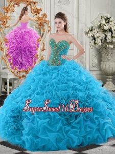 Exclusive Beaded Bodice and Ruffled Sweetheart Cheap Sweet Sixteen Dress in Baby Blue