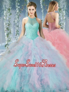 Lovely Beaded Decorated Halter Top Rainbown Cheap Sweet Sixteen Dress in Organza