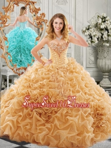 Low Price Big Puffy Beaded and Ruffled Sweet Sixteen in Organza
