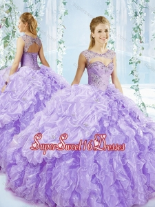 Puffy Skirt Bubble and Beaded 15th Birthday Party Dress in Lavender