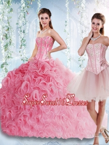 Visible Boning Rolling Flowers Cheap Sweet Sixteen with Beaded Bodice