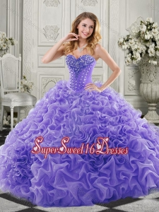 Wonderful Chapel Train Beaded and Ruffled Quinceanera Dress in Lavender