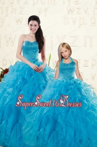 Romantic Teal Ball Gown Sequins and Ruffles Princesita Dress