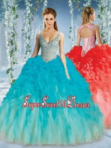 Beautiful Deep V Neck Big Puffy Quinceanera Gown with Beaded Decorated Cap Sleeves