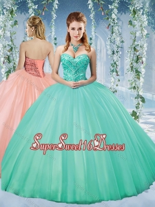 Discount Taffeta Beaded Puffy Skirt Quinceanera Gown in Turquoise
