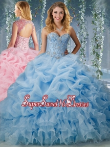 Elegant Brush Train Big Puffy Quinceanera Dress with Beading and Ruffles