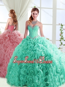 Exclusive Beaded Really Puffy Detachable Quinceanera Dresses in Rolling Flowers