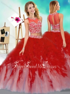 New Style Two Piece Scoop Quinceanera Dress with Beading and Ruffles
