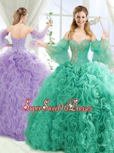 Exquisite Beaded Big Puffy Detachable Quinceanera Skirts with Brush Train