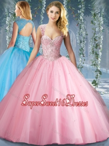 Lovely Pink Big Puffy Beaded Sweet Sixteen Dress with Brush Train