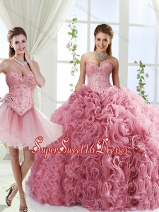 Romantic Beaded and Rolling Flowers Detachable Quinceanera Skirts with Brush Train