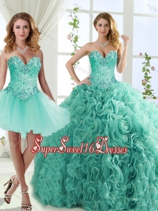 Feminine Visible Boning Beaded Detachable Sweet Sixteen Dresses in Rolling Flowers
