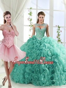 Simple Brush Train Detachable Sweet Sixteen Dresses with Beading and Rolling Flower