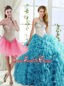 Simple Rolling Flowers Detachable Sweet Sixteen Dresses with Brush Train