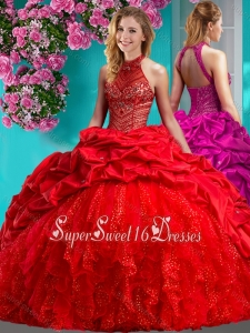 Feminine Halter Top Brush Train Quinceanera Dress with Beading and Ruffles