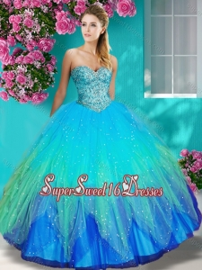 Lovely Really Puffy Beaded and Appliques Quinceanera Dress in Colorful