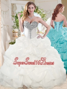 White Ball Gowns Beaded and Bubbles Quinceanera Dress with Sweetheart