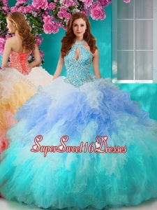 Exclusive Rainbow Halter Top Sweet 16 Dress with Beading and Ruffles