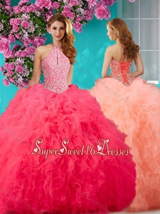 Romantic Beading and Ruffles Halter Top Quinceanera Dress with Puffy Skirt