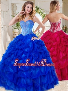 Exclusive Blue Big Puffy Quinceanera Gown with Beading and Pick Ups