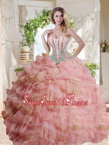 Fashionable Visible Boning Beaded Pink Sweet 16 Dress in Organza