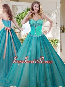 Gorgeous A Line Brush Train Quinceanera Gown with Beading and Sash