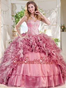 New Style Puffy Skirt Pink Sweet 16 Dress with Beading and Ruffles