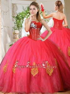 Romantic Beaded and Gold Applique Really Puffy Quinceanera Dress in Red