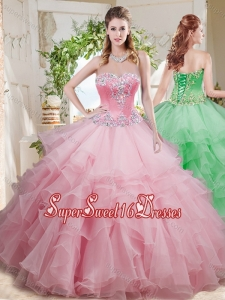 Wonderful Beaded and Ruffled Layer Big Puffy Sweet 16 Dress in Baby Pink