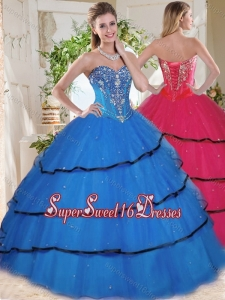 Wonderful Beaded and Ruffled Layers Blue Quinceanera Gown in Organza
