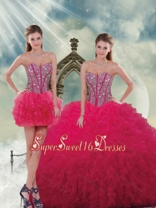 Fashionable and Detachable Beading and Ruffles Red Quinceanera Dresses for 2015