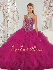 Unique and Detachable Beading and Ruffles Dresses for Quince in Red for 2015